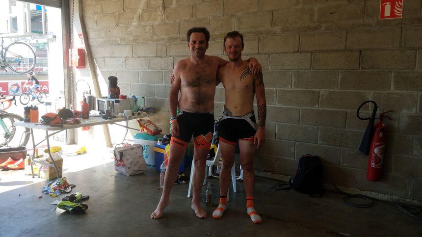 David et Yohan, originaires de Chollet, fatigués, mais satisfaits, après leurs courses solo.