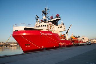 L'Ocean Viking, à quai, avant de prendre la mer le 4 août. La navire est parti de Marseille.