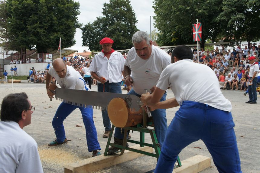 """L'épreuve """"Les scieurs de bois"""" nécessite non seulement de la force mais aussi une bonne synchronisation entre les deux scieurs."""