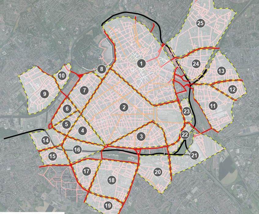 La carte du passage progressif à 30 km/h dans Lille