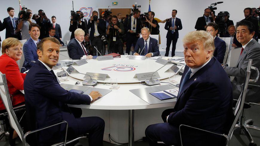 Les sept dirigeants et Donald Tusk à Biarritz.