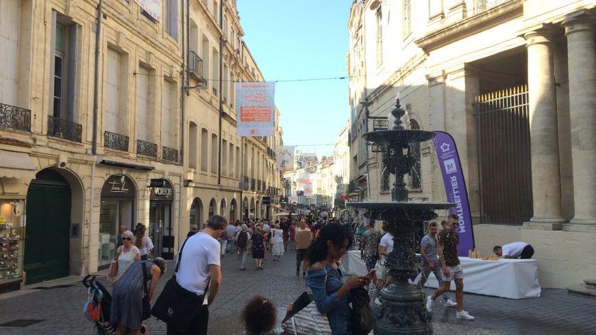 La nouvelle fontaine en face de l'hôtel Saint-Côme dans la Grand'Rue Jean Moulin