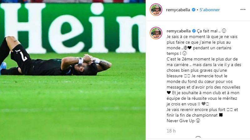 Le message posté par Rémy Cabella sur Instagram