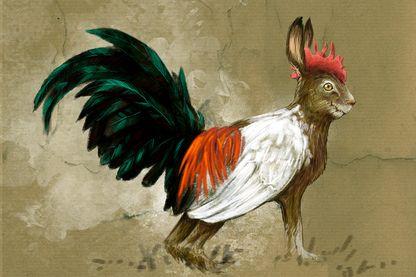 Monstres et créatures fantastiques, cryptozoologie : représentation d'un Skvader, créature imaginaire de la Suède, à mi-chemin entre un lièvre et un Grand coq de bruyère, il fut créé en 1918 par le taxidermiste Rudolf Granberg.