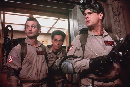 "Bill Murray, Harold Ramis, Dan Aykroyd, sur le tournage du film ""Ghostbusters"", d'Ivan Reitman, en 1984."