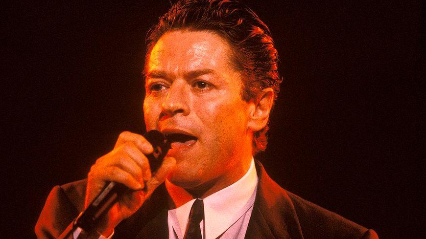 Le chanteur Robert Palmer sur scène.
