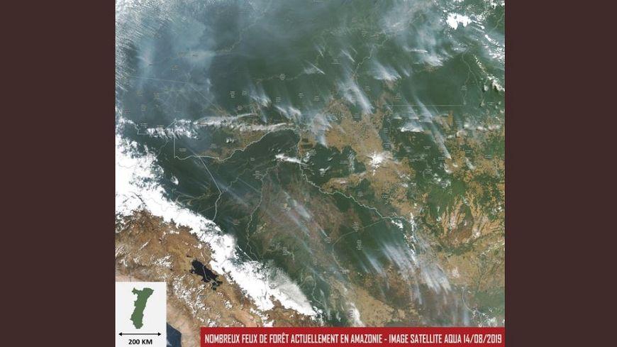 Carte des incendies en Amazonie publiée le 23 août 2019