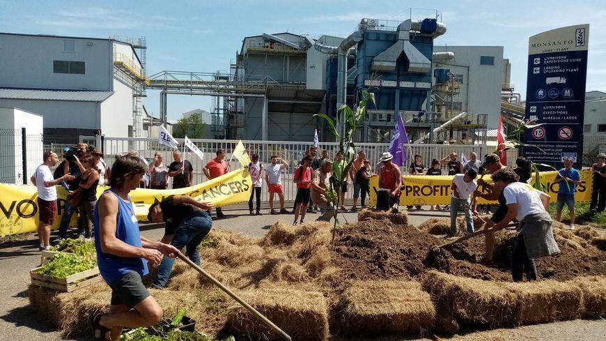 80 personnes se sont rassemblées vendredi devant l'usine Monsanto à Peyrehorade
