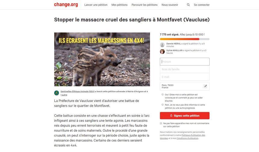 Capture d'écran de la pétition