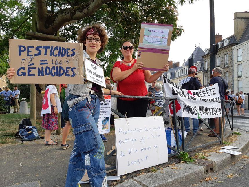 Les manifestants brandissent des pancartes face aux automobilistes.
