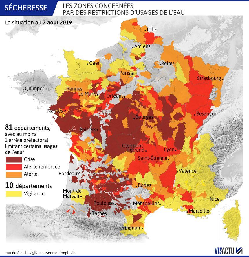 carte sécheresse france 2020 CARTE   Sécheresse : 81 départements désormais concernés par des