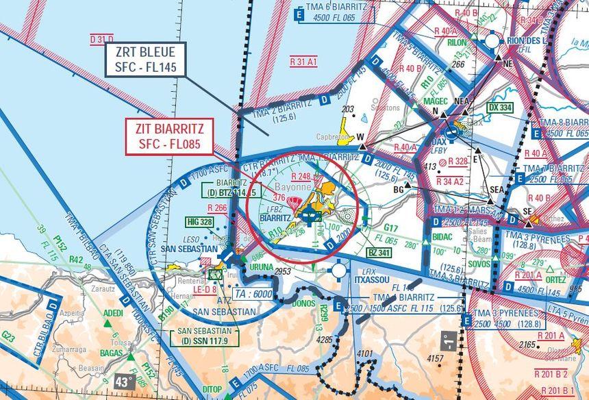 Les deux zones de restriction de l'espace aérien pendant le G7, la ZRT Bleue et la ZIT Biarritz. - Radio France