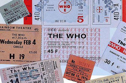 Billets de concerts anciens des concerts des Who en Australie dans les années 1970