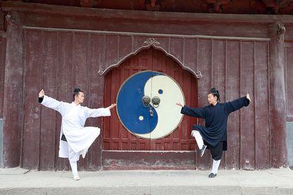 Des moines taoistes pratiquant leur art martial, dans les montagnes du Wudang - avril 2015