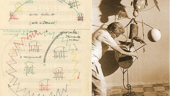 """Page 3 de la partition d'""""Anestesia"""" et Walter Smetak avec un de ses instruments-sculptures"""