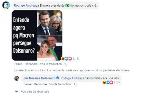 - capture d'écran sur le compte Facebook du président brésilien