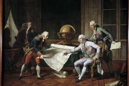 Louis XVI assis donnant ses instructions à Jean-Francois Galaup, comte de La Perouse (à gauche) pour son voyage d'exploration, 1785