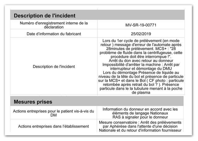 Rapport d'incident à l'EFS Martinique le 25 février 2019 sur une machine Haemonetics.