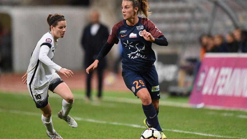 Clarisse Le Bihan (ici en 2017 face au Paris FC) a inscrit les deux buts de la rencontre, qui permettent à Montpellier de l'emporter contre Reims