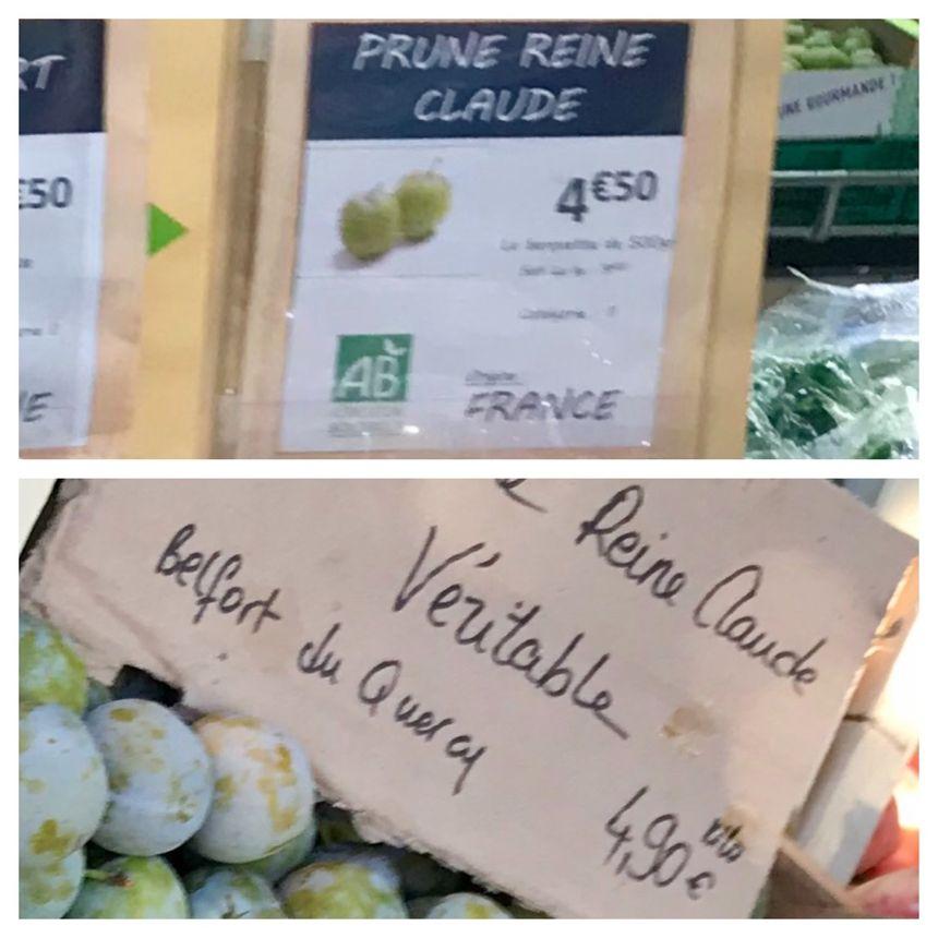 Ce supermarché affiche 4€50 les 500gr de prunes Reine Claude, c'est quasiment le même prix au marché, mais pour 1kg.
