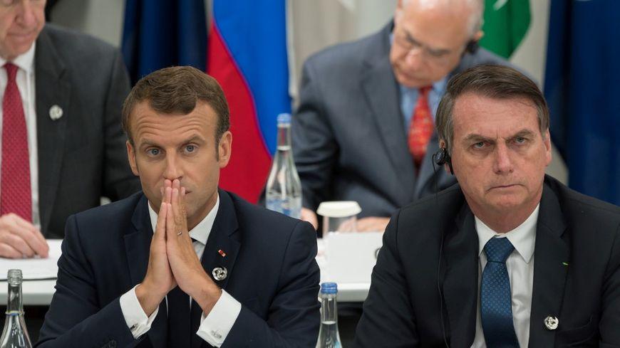 Le président Emmanuel Macron aux cotés de son homologue brésilien Jair Bolsonaro