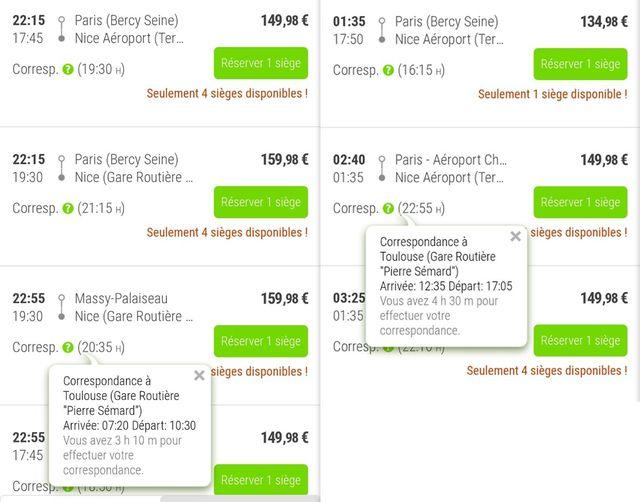 Quelques tarifs relevés sur le site de Fluxbus pour notre recherche d'un Paris-Nice à la dernière minute