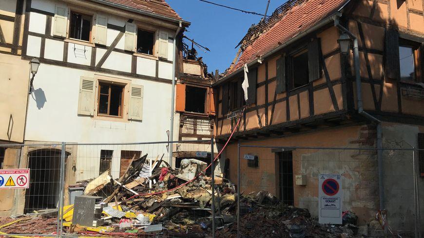 Le groupe de maisons incendiées, rue des Bouchers à Rouffach