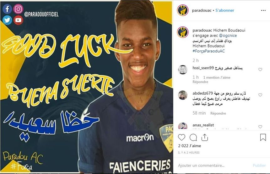 Le club de Paradou annonce sur son compte Instagram le transfert de son joueur Hichem Boudaoui vers l'OGC Nice