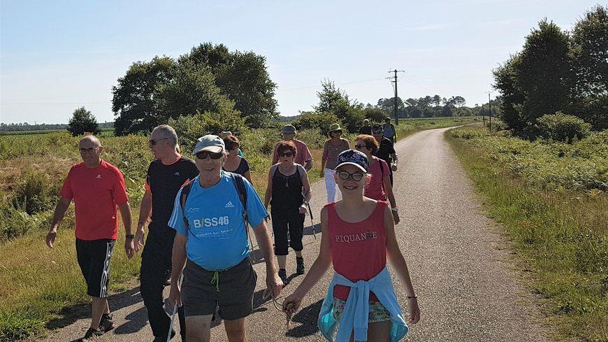 Antoine Garrigues et ses compagnons de marche lors de son étape entre Luglon et Labouheyre