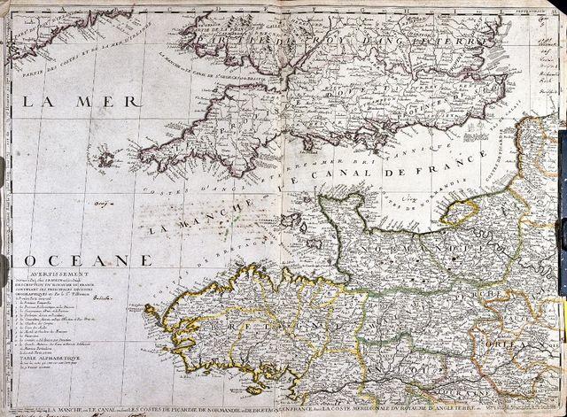 Carte des territoires littoraux de la Manche dont la Bretagne et l'Angleterre, XVIIIe siècle