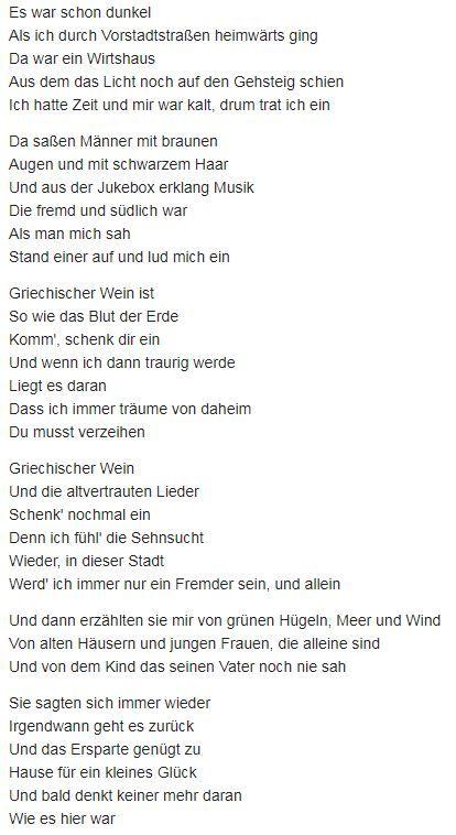 Les paroles originales du Vino Griego