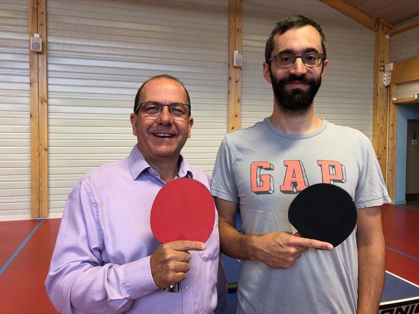 Neil Waters président de l'us palaiseau tennis de table et Laurent Kazdaghli organisateur de La nuit du Ping à Palaiseau