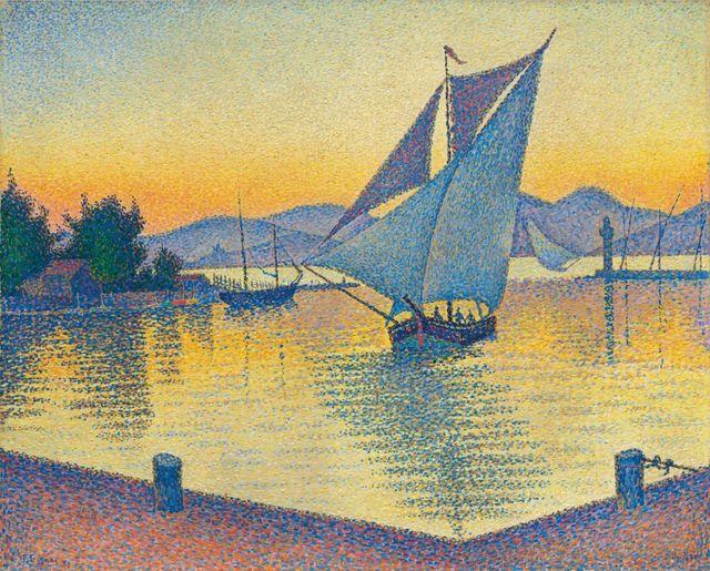 La peinture de Paul Signac représente le port de Saint-Tropez.