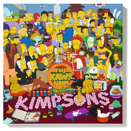 """Des Simpsons aveugles sont représentés sur l'oeuvre """"The Kaw's album""""."""