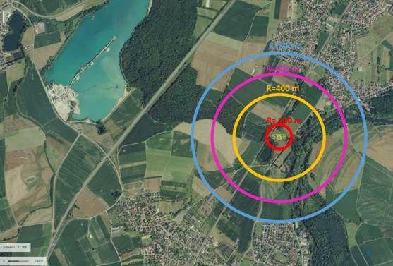Dans le cercle rouge, l'emplacement de la station, à environ 500 mètres des premières habitations de Seissenheim et de Routzenheim-Auenheim