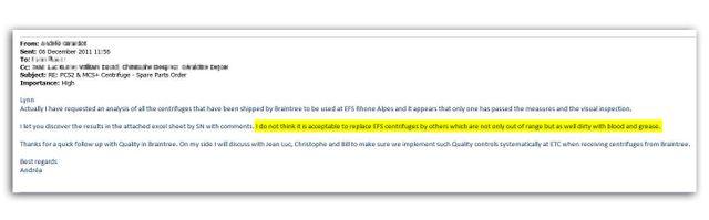 Extrait d'un échange de mails interne à Haemonetics en décembre 2011.