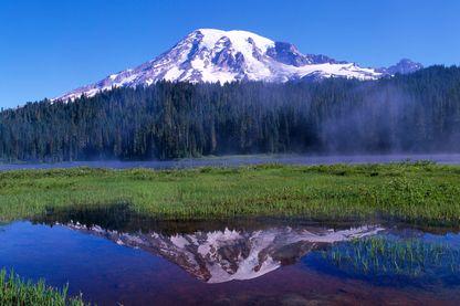 Le Mont Rainier, un stratovolcan situé sur la chaine des Cascades