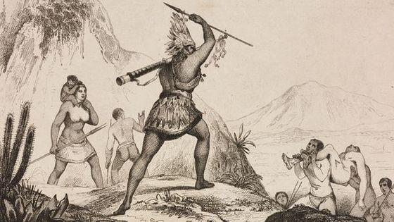 Les Bororos, tribu qu'a bien connue Lewis Strauss (Gravure de Ferdinand Denis)