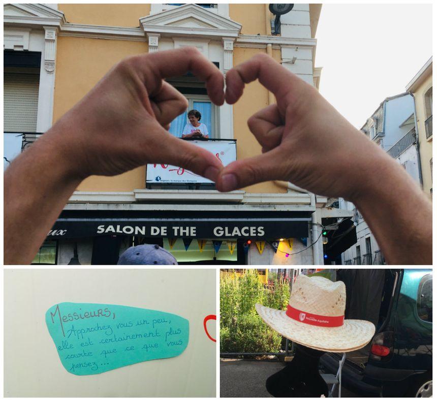 Une mamie au balcon place de la Fontaine Chaude, un message de la dame pipi du parc des arènes et un chapeau promotionnel de la Région vendu 8 euros par un vendeur ambulant.
