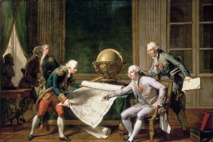Louis XVI donnant des instructions au capitaine La Pérouse, le 29 juin 1785. Tableau dans la collection du musée de l'Histoire de France, Château de Versailles du peintre Nicolas-André Monsiau.