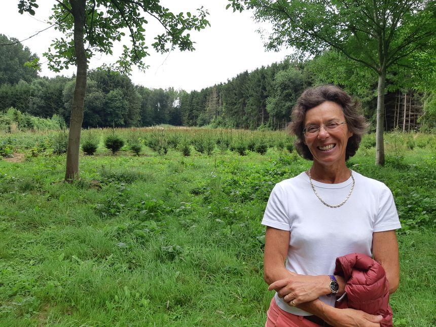 Bénédicte Leclerc de Hauteclocque s'occupe de la commercialisation de ses sapins en août
