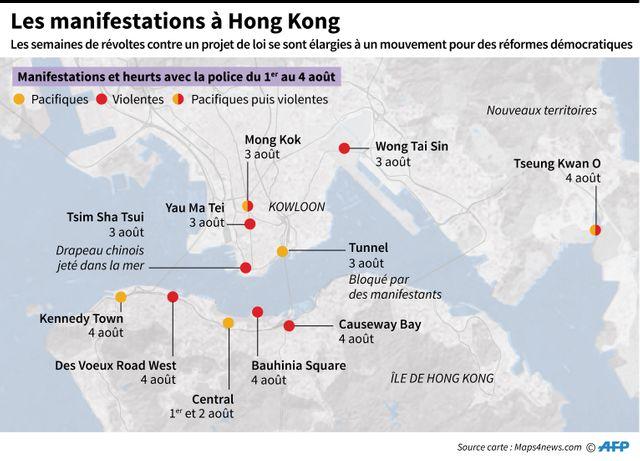 Les manifestations et les heurts se sont multipliées début août à Hong Kong.