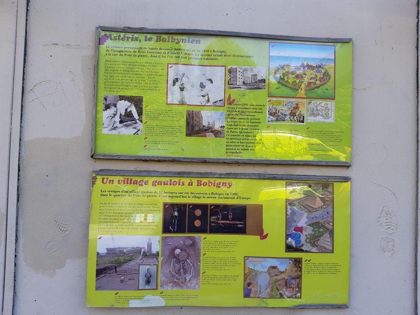 Exposition sur Astérix devant le centre social de la cité du Pont-de-Pierre à Bobigny