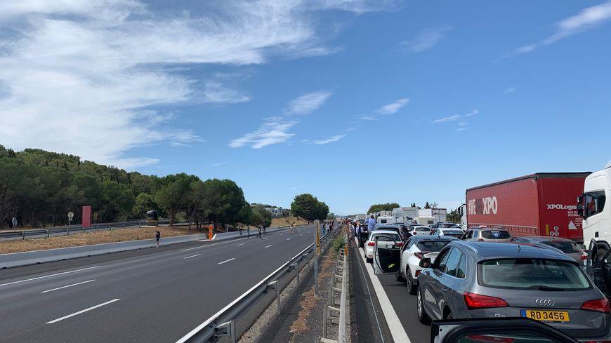 Un énorme bouchon s'est formé sur l'autoroute A9