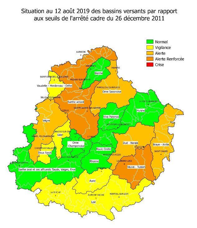 Au 12 août, deux bassins versants sont en alerte renforcée (Veuve-Tusson, Sarthe Amont) et quatre bassins en alerte (Braye-Anille, Dué-Narais, Orne Saosnoise, Vègre).