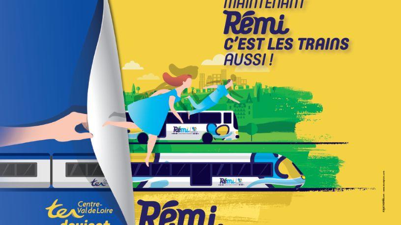 Campagne de communication pour les trains et cars Rémi (Centre Val-de-Loire)