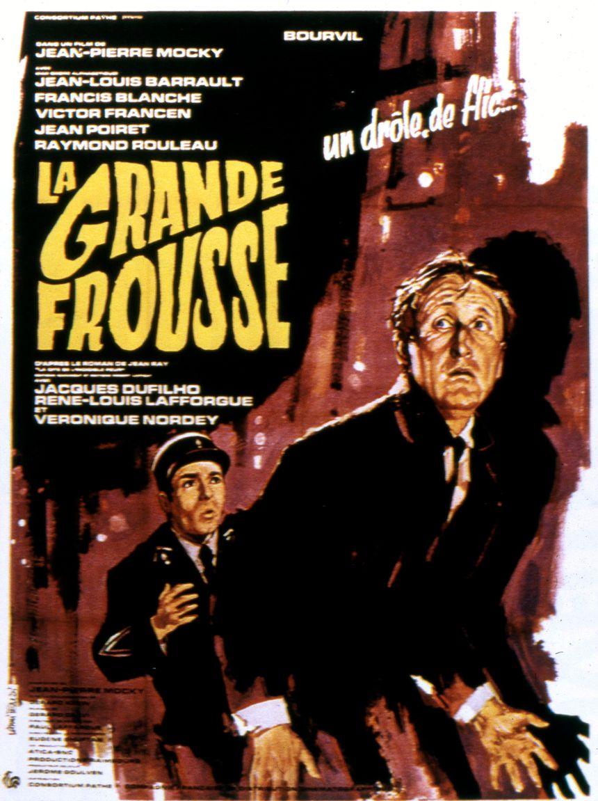 L'affiche du film La Grande Frousse tourné en 1964 dans le Cantal, à Salers et Murat