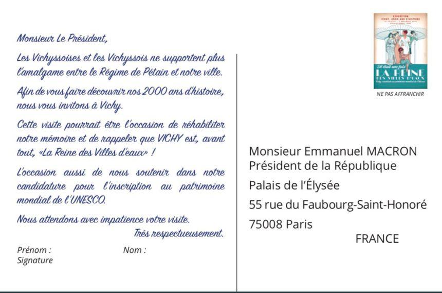 Vichy Une Carte Postale Pour Inviter Emmanuel Macron