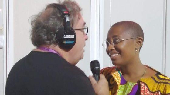 Cécile McLorin Salvant au micro de Alex Dutilh le 10 août 2019 dans les coulisses de Jazz in Marciac