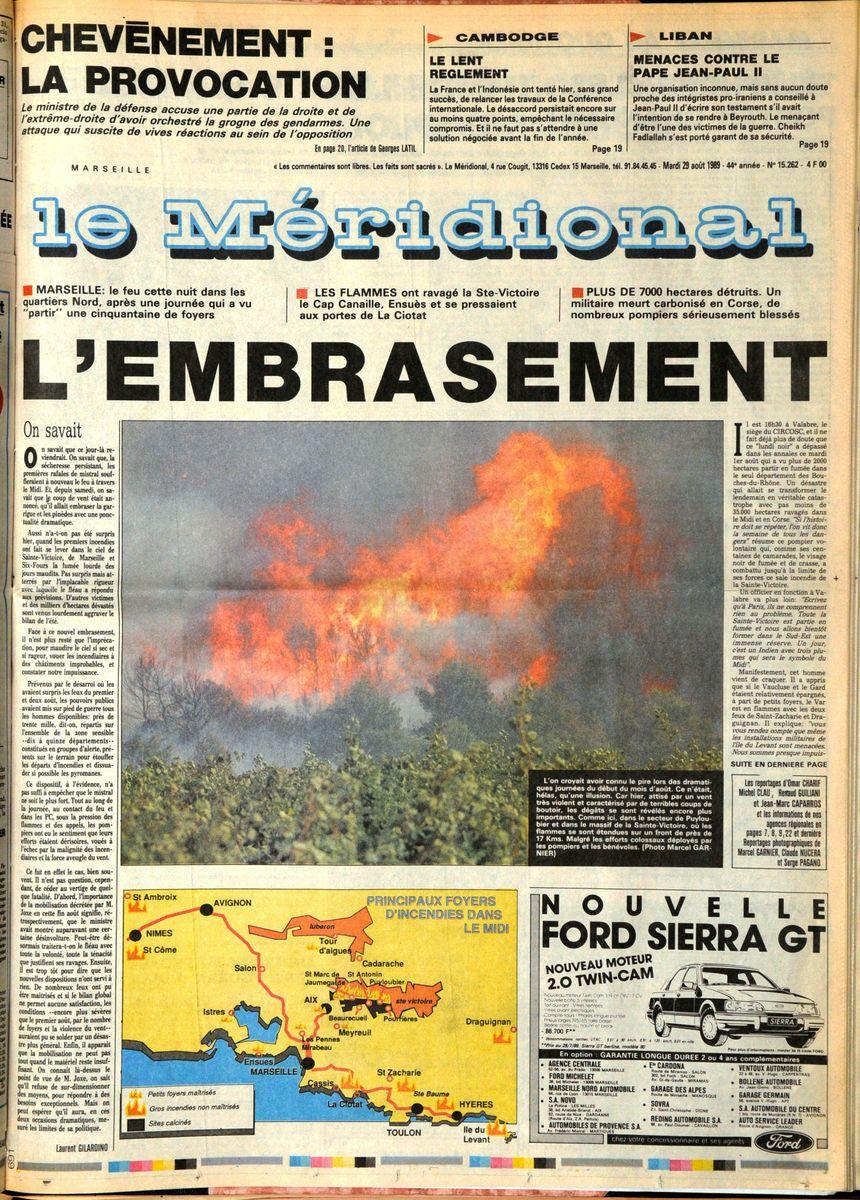 La une du journal le Méridional le 29 août 1989